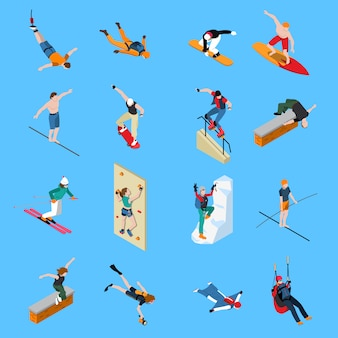 Extreme sports people isometric set