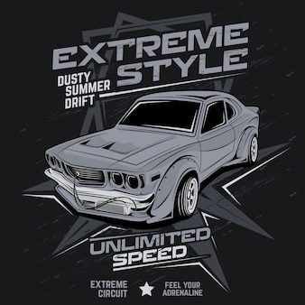 Extreme style dusty summer drift, car vector illustration