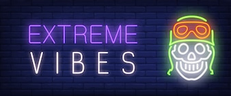 Extreme vibes neon style banner