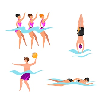 Extreme water sports flat illustrations set. synchronized swimming athletes. man playing volleyball in water. swimmers in pool, sea, ocean. active lifestyle isolated cartoon characters