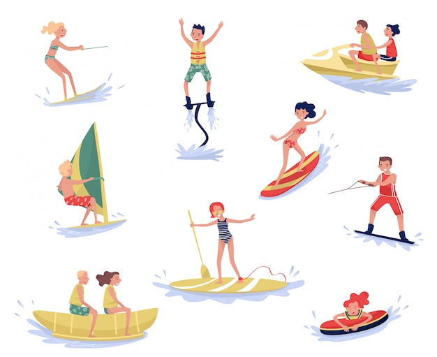 Extreme water sports set, waterski, flyboarding, windsurfing, surfing, paddleboarding, wakeboarding water sport activities cartoon  illustrations