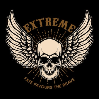 Extreme. winged skull on black background. design element for logo, label, emblem, sign, poster.