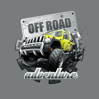 Extreme yellow off road vehicle suv.