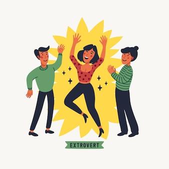 Экстраверт. концепция экстраверсии и интроверсии - молодая счастливая женщина в центре внимания, разговаривает