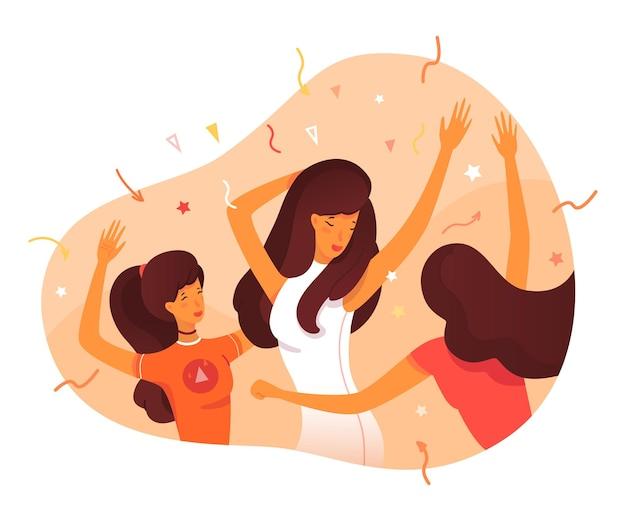 외향적인 개성. 파티 클럽에서 춤추는 외향적인 여성, 사람들과의 엔터테인먼트