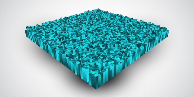 Extruding teal colored cubes