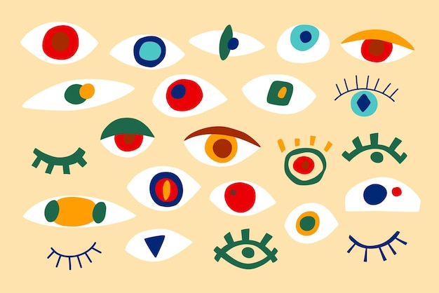 Коллекция абстрактных глаз, геометрические формы в современном стиле. векторный набор с взглядом, глазами в современном стиле коллажа. абстрактные формы рисованной иллюстрации. красочный модный фон. изолированный.