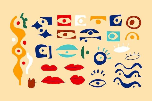 Глаз абстрактная коллекция геометрических фигур с взглядом глаза губ в современном стиле коллажа