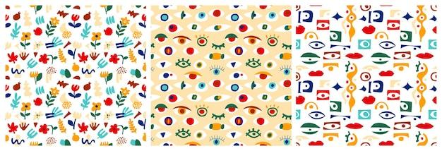 目の抽象的なパターンコレクション、現代的な幾何学的形状。モダンなコラージュスタイルの外観、目でギリシャのシームレスなパターンをベクトルします。抽象的な形のイラスト。カラフルなトレンディな背景セット