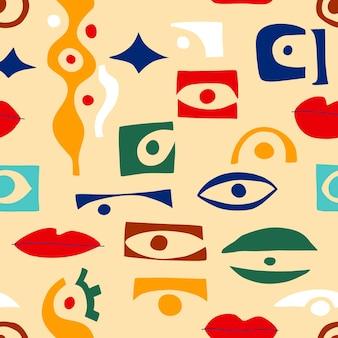 目の抽象的なパターン、現代的なスタイルの幾何学的形状。モダンなコラージュスタイルの外観、目でギリシャのシームレスなパターンをベクトルします。抽象的な形手描きイラスト。カラフルなトレンディな背景