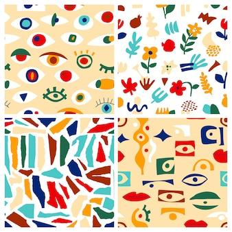 Набор абстрактных узоров глаза, геометрические фигуры в современном стиле. вектор греческий бесшовные модели с взглядом, глазами. современный стиль коллажа. абстрактные формы рисованной иллюстрации. красочный модный фон