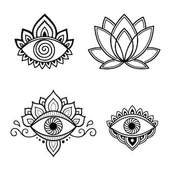 目と蓮の花。レーザーとプロッターの切断、エンボス加工、彫刻、衣類への印刷のための東洋の一時的な刺青スタイルの装飾要素のセット。邪眼から守るためのシンボル。