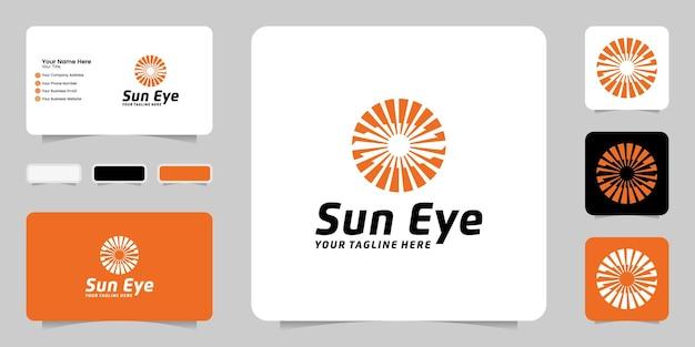 目と太陽のロゴデザインのインスピレーションロゴテンプレートと名刺デザインのインスピレーション