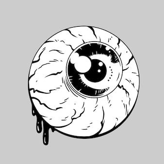 Eye ball horror hand drawing illustration vector