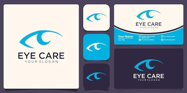 アイケアのロゴのコンセプト。フラットラインアイアイコンデザインテンプレート。