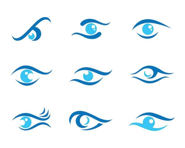 Значок вектора шаблона логотипа ухода за глазами