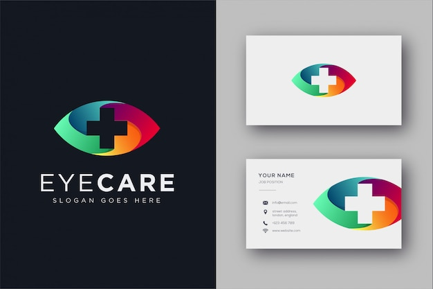 Eye care medical logo icon template and business card template