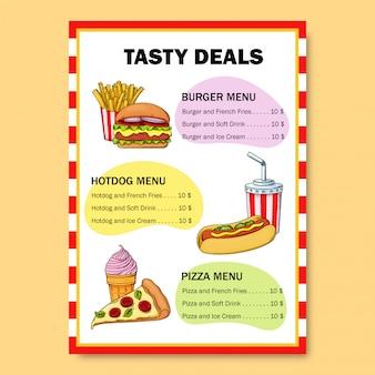 レストランの目を引く明るいファーストフードメニュー。ハンバーガー、ホットドッグ、ソフトドリンク、ピザ、アイスクリーム、フライドポテトを扱うメニュー