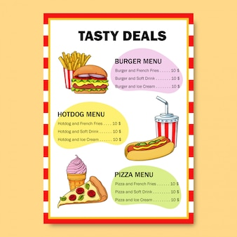 Eye catching bright fast food menu for a restaurant. menu deals with burger, hot dog, soft drink, pizza, ice cream and french fries