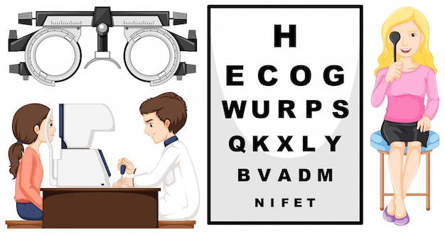 Eye checking machine and patients