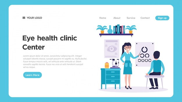 Eye clinic medical check up illustration for website page