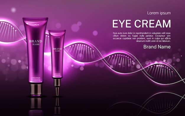 Eye cream cosmetics tubes banner with dna