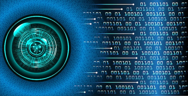 Eye cyber circuit future technology concept background closed padlock on digital background