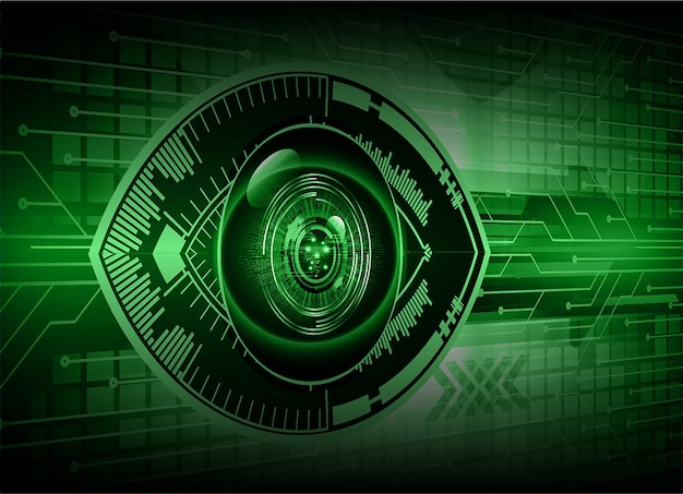 Eye cyber circuit future technology concept background closed padlock on digital