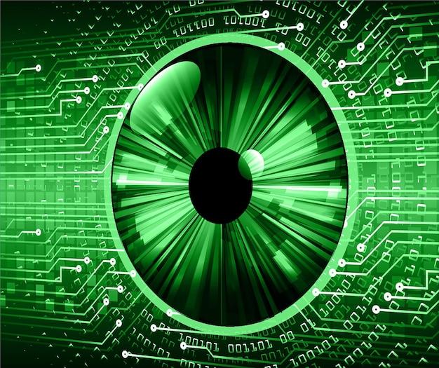 目のサイバー回路の将来の技術概念の背景デジタル背景の南京錠を閉じた