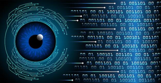 目のサイバー回路の将来の技術概念の背景デジタルの南京錠を閉じた