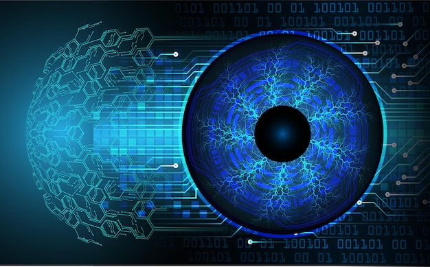 Eye cyber circuit future technology concept background