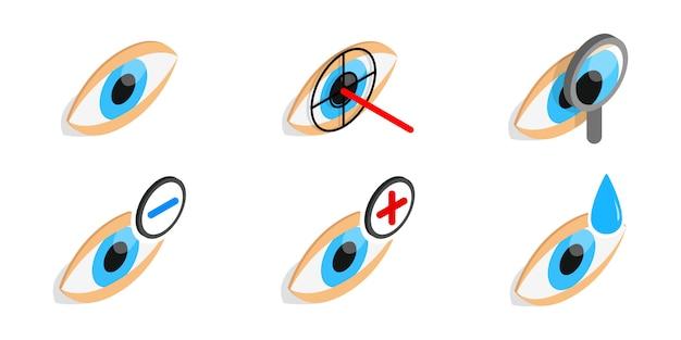 Значок диагностики глаз установлен на белом фоне Premium векторы