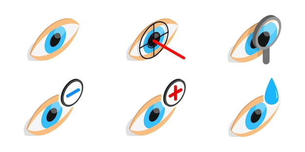 Eye diagnostic icon set on white background