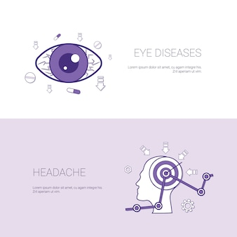 Eye diseases and headache concept template web banner
