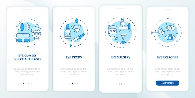 Eye diseases treatment methods onboarding mobile app page screen with concepts. eye drops for dry eyes walkthrough 4 steps . ui  template with rgb color illustrations