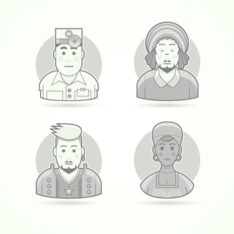 안과 의사, rastaman, 록 음악 팬, 아프리카 여성. 캐릭터, 아바타 및 사람 삽화의 집합입니다. 흑백 윤곽선 스타일.