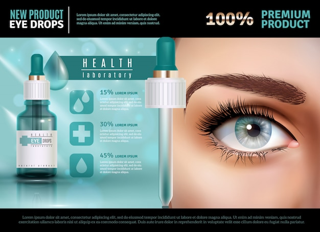 Eye drops realistic advertising template