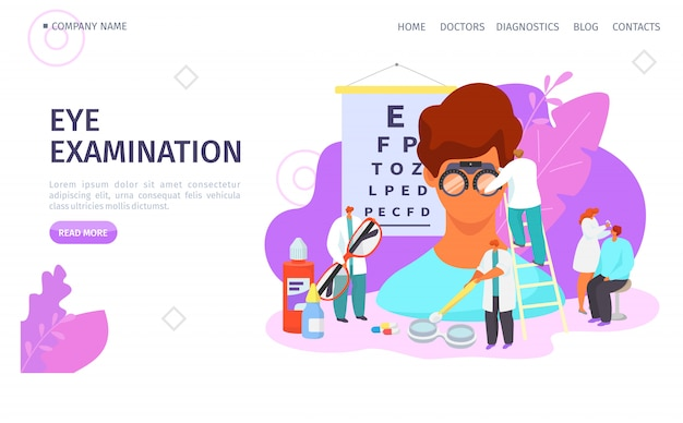Eye examination, ophthalmologist landing vector illustration. doctor test patient eyesight, vision treatment with drops