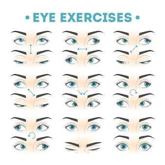 Eye exercise set. collection of movement for eyes