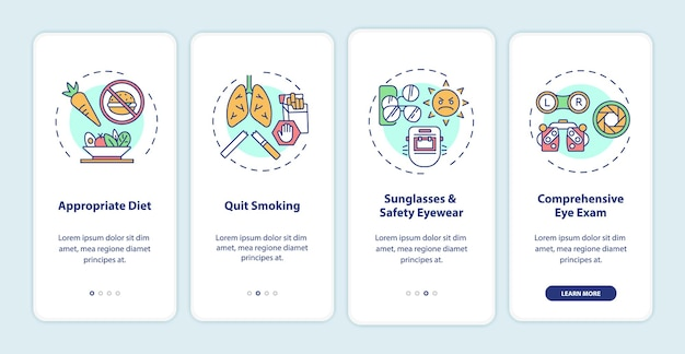 Eye health tips onboarding mobile app page screen with concepts. appropriate diet for treatment walkthrough 4 steps graphic instructions. ui  template with rgb color illustrations