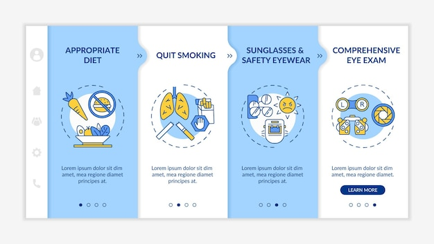 Eye health tips onboarding   template. appropriate diet as treatment. quit smoking cigarettes.   webpage walkthrough step screens.