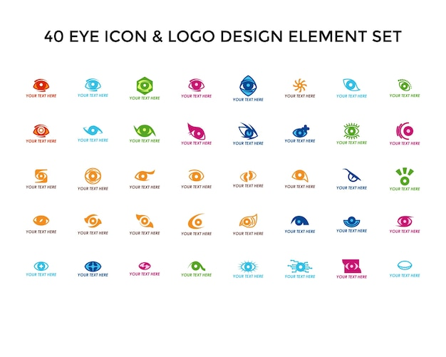 Eye icon logo design set
