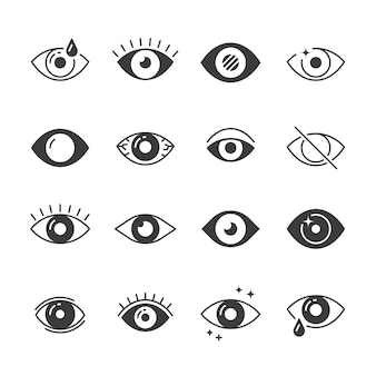 Eye icons. human vision and view signs. visible, sleep and observe symbols