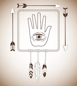 Eye inside hand icon