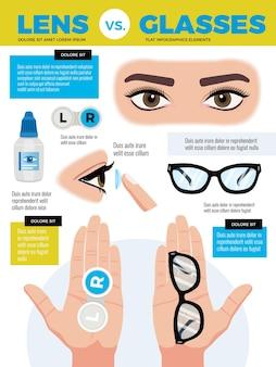 Illustrazione degli occhiali delle lenti dell'occhio