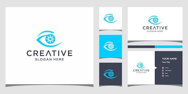 Дизайн логотипа глаза с шаблоном визитной карточки
