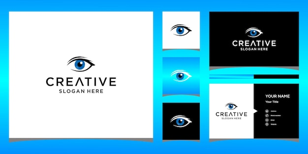 名刺テンプレートと目のロゴデザイン