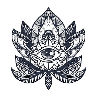 Eye on lotus tattoo