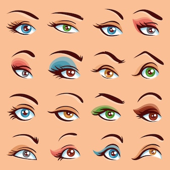Eye makeup icons set