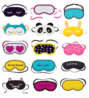 Eye mask vector sleeping night accessory relax rest in traveling set
